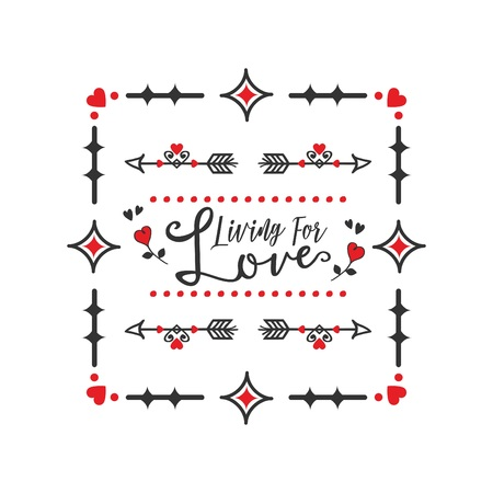 Black and red living for Love message square banners embelms with heart arrows dividers design elements on white background