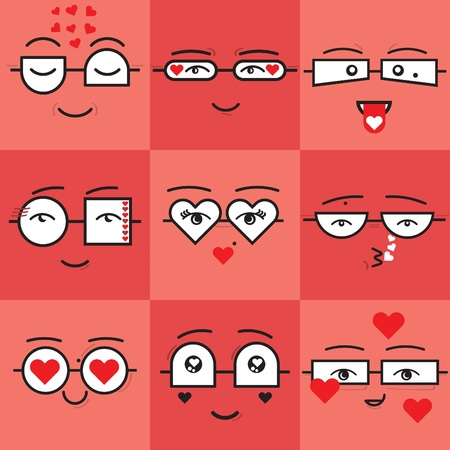 Cute coral and red square stickers valentines emoticons faces icons set with different geometrical shapes eyeglasses