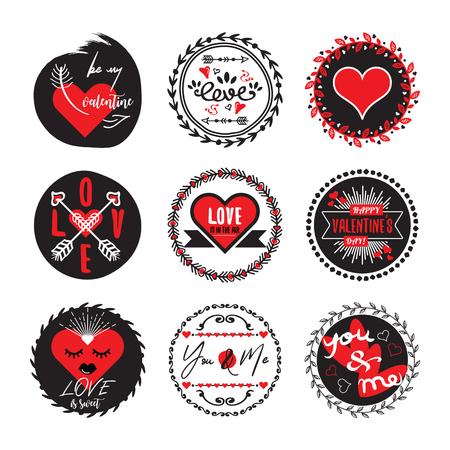 Black and red circle cute love and heart valentines emblems set on white background