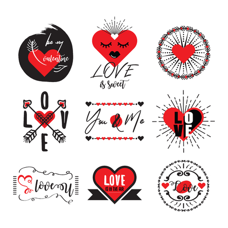 Cute and elegant black and red heart, love and Valentines emblem set on white background