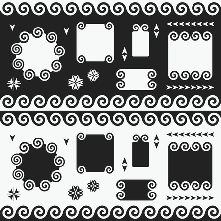 Black and white swirl empty banners, emblems, labels and tags design elements set Archivio Fotografico - 125188223