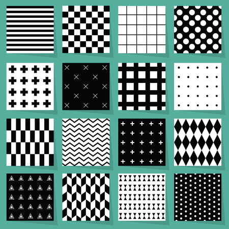 Black and white modern geometrical patterns design element set on light blue background with shadows Archivio Fotografico - 125188225