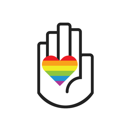 Isolated black line hand symbol holding rainbow pride flag heart sign icon on white background
