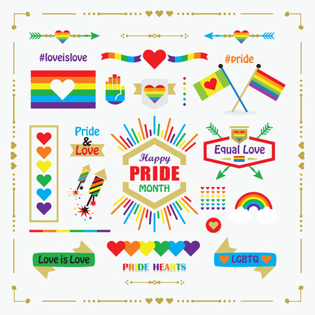 Happy Pride Month rainbow flags, icons, emblems, and design elements set on white background 向量圖像