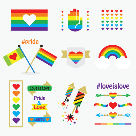 Pride rainbow flags, icons, emblems, dividers, and design elements set on white background