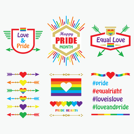 Happy Pride Month icons, flags, emblems, and design elements set on white background 向量圖像