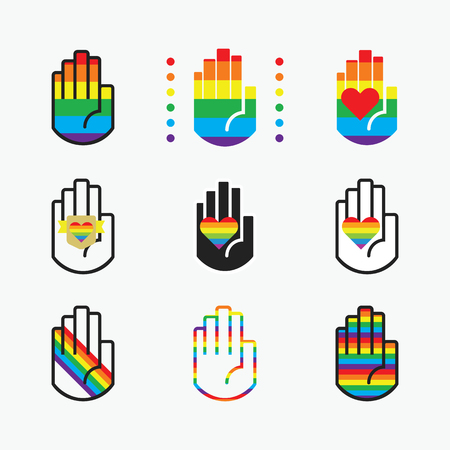 Conceptual pride rianbow color hands icons with hearts icons set on off white background