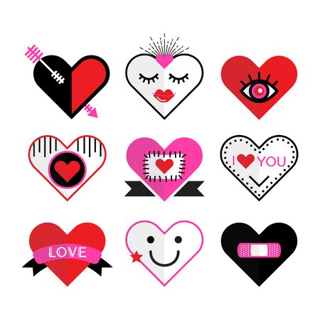 Cute pink and red heart and love icon emblems and design elements set on white background 向量圖像