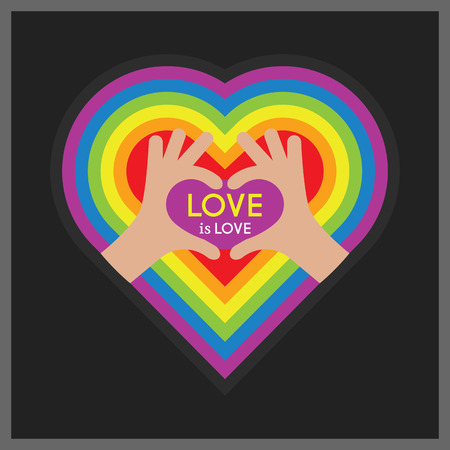 Abstract showing heart symbol hands and Love is Love message on pride rainbow multi colors heart emblem with balck background