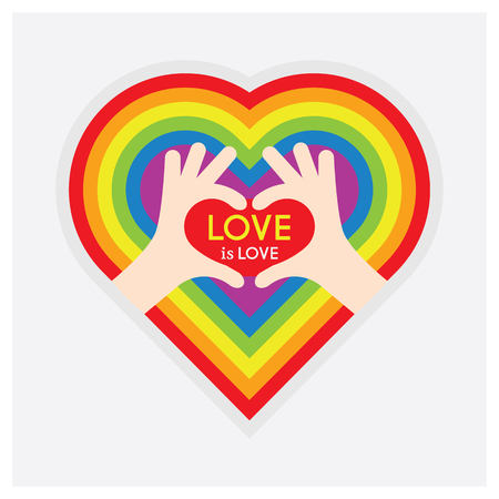 Abstract showing heart symbol hands and Love is Love message and pride rainbow multi colors heart emblem on white background Archivio Fotografico - 125188263