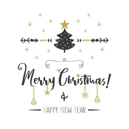 Black and golden Merry Christmas and Happy New Year greeting card with elegant hanging ornaments on white background