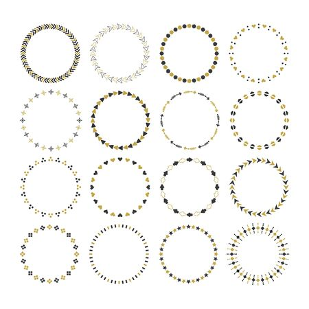 Black and golden round and circle empty emblem icons set design elements on white background 向量圖像