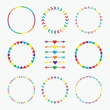 Colorful rainbow circle emblems pattern with arrows design element set on white background Archivio Fotografico - 127924506