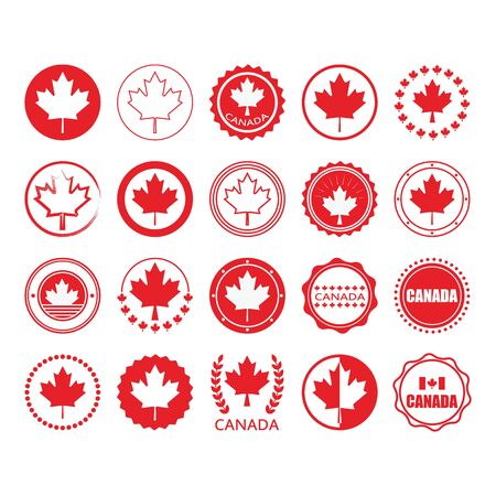 Red Canada flag and maple leaf sign circle emblems and stamps design elements set on white background Archivio Fotografico - 127924533