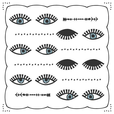 Blue abstract different looking feminine pair of eyes with lashes icons set card on white background 向量圖像