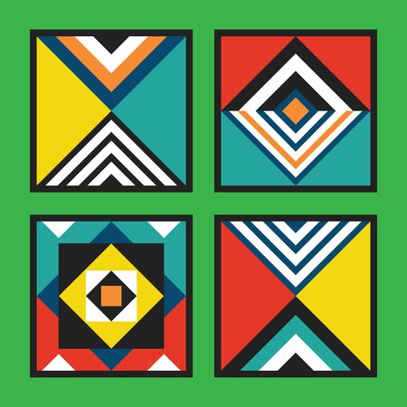 Modern retro colorful and vivid colors geometrical square tiles frames pattern set on green background Archivio Fotografico - 128542303