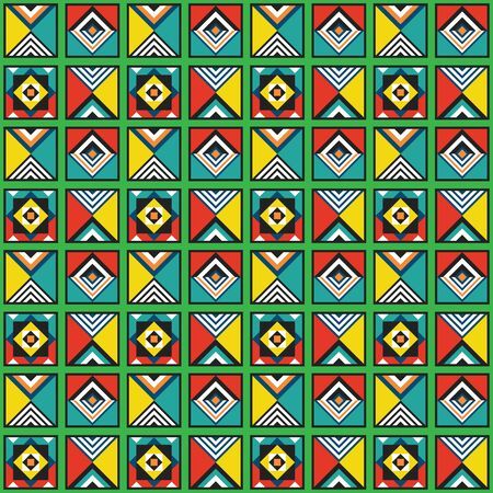 Modern retro colorful and vivid colors geometrical tiles frames pattern background design element 向量圖像