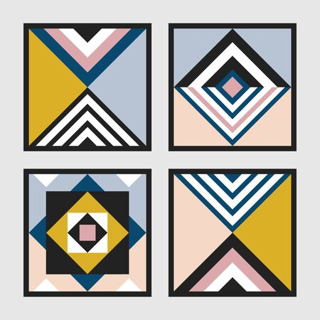 Modern retro colors geometrical square tiles frames pattern set on gray background