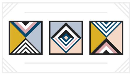 Modern geometric art decoration square frames set on white background