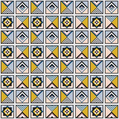Modern retro colors geometrical tiles frames pattern background design element