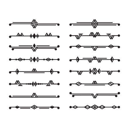 Abstract black art deco stylized and isolated dividers icons set design elements on white background Illusztráció