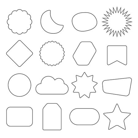 Black line and isolated kids different shapes empty labels icons set design elements set on white background