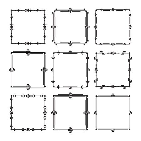 Black line and isolated square art deco empty frames icons set of white background - Group 1