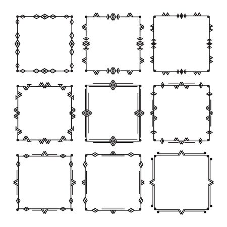 Black line and isolated square art deco empty frames icons set o white background - Group 2
