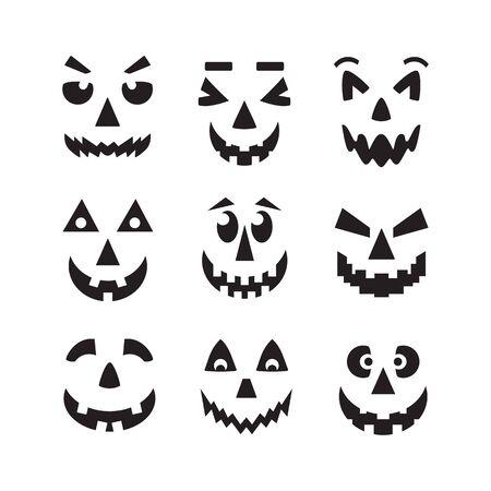Calabaza de Halloween negra aterradora, fresca y divertida se enfrenta a iconos en fondo blanco