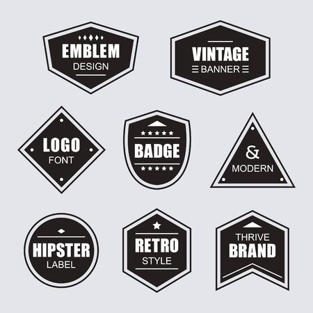 Black different shapes retro and vintage labels and badges icons banners set on gray background