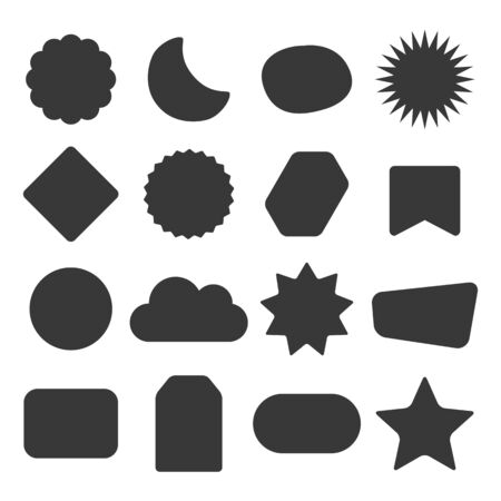 Black silhouette and isolated kids different shapes empty labels icons set design elements set on white background Illusztráció