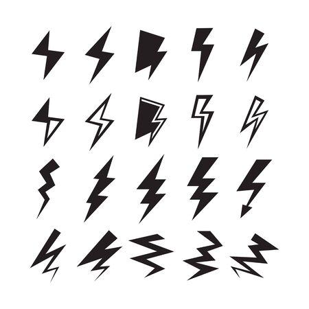 Black silhouette thunder and lightning bolt icons set on white background Ilustração Vetorial