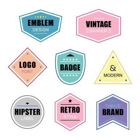Colorful different shapes retro and vintage labels and badges icons banners set on gray background