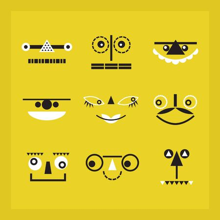 Black and white cute and funny geometrical faces icons set on yellow background Illusztráció