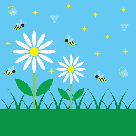 Spring blue sky day with simple white daisy flowers and honey bees kids and child like poster