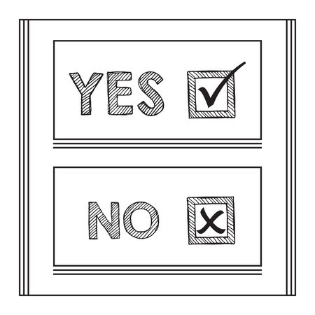 Black striped Yes and No words, check mark and cross symbol in ckeck boxes layout design elements on white background