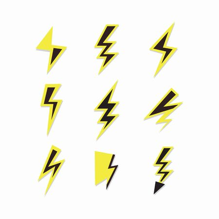 Black and yellow thunder sign and lightning bolt icons set on white background Banco de Imagens - 136397616