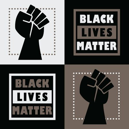 Black Lives Matter square message emblem stickers set with black powerful fist symbol icon on black and khaki background