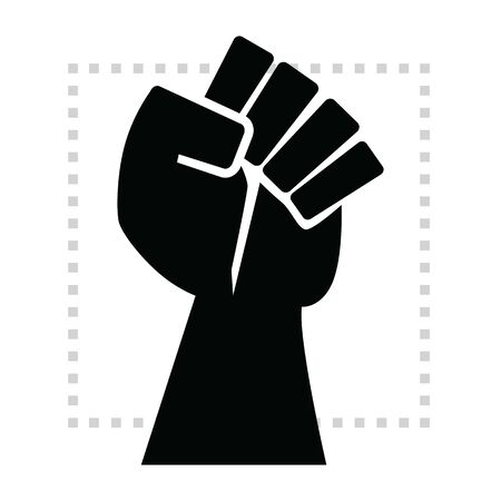Black strong and powerful rise hand fist conceptual isolated symbol icon on white background with dotted square border