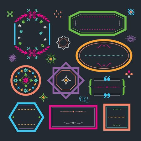 Cute colorful retro and floral line empty emblems and frame banners design elements set on black background Ilustração