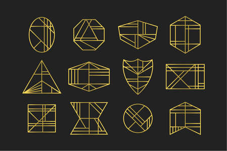 Golden abstract line geometrical different shapes art deco icons set design elements on black background Ilustração