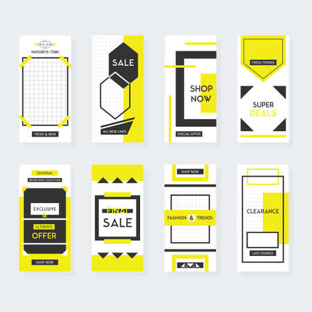 Yellow and black vertical shape sale and shop web site and mobile template designs set on gray background Ilustração
