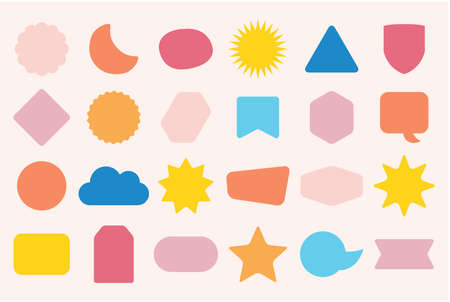 Colorful solid and isolated random shapes empty sticker and labels icons set on pink background Ilustração