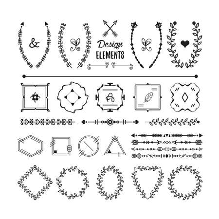 Black floral banner emblems, dividers, and arrows icons design elements set on white background