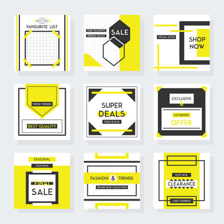 Yellow and black square sale and shop web elements and template designs set on gray background