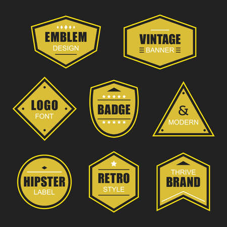 Golden like different shapes retro and vintage labels and badges icons banners set on black background Ilustração