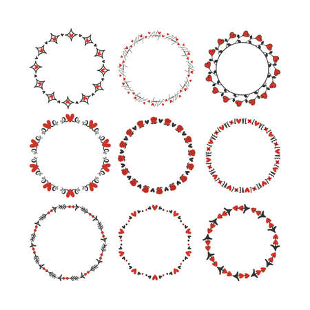 Black and red hand drawn romantic love hearts, and roses circle emblem set design elements on white background