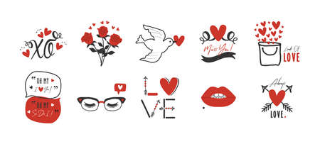 black and red hand drawn romantic love and heart icons set design elements on white background Ilustração
