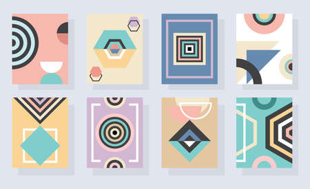 Modern abstract and geometrical colorful vertical rectangle frames and backgrounds set on blue Ilustração