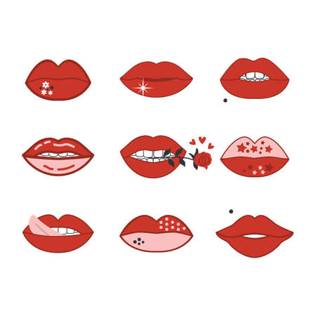 Sexy and cute romantic red and pink women lips icons set and design element on white background Ilustração